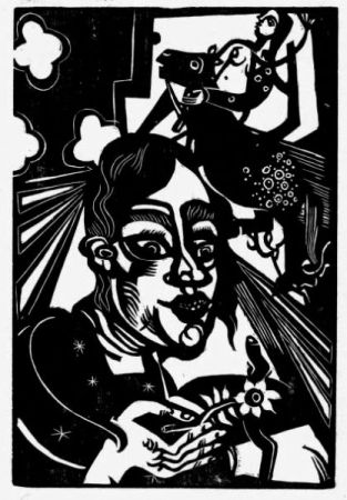Grabado En Madera Campendonk - Frau mit Blume / Woman with Flower
