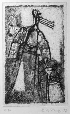 Aguatinta Kouliev - Frau mit dem Kind