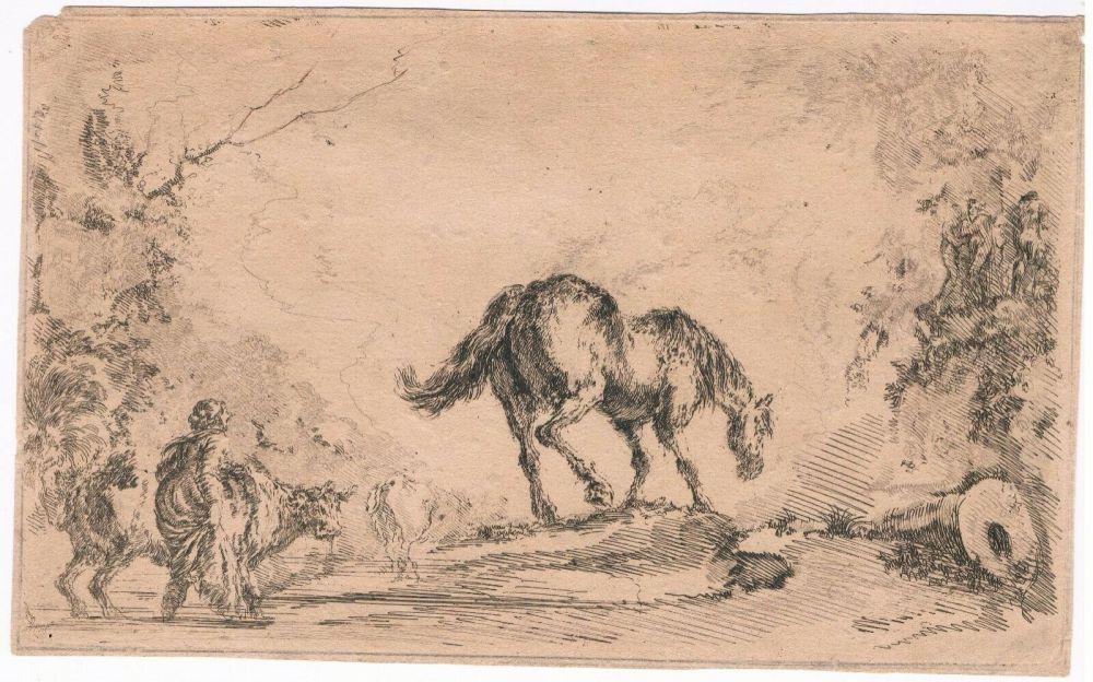 Grabado Della Bella - Free Horse, from
