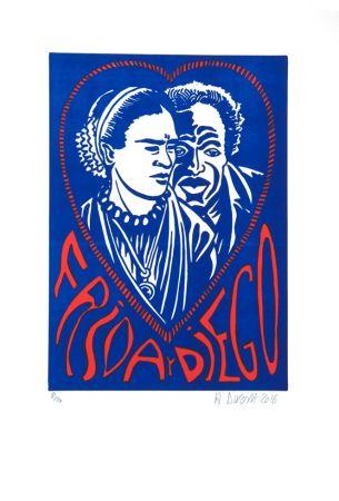 Litografía Di Rosa - Frida Y Diego