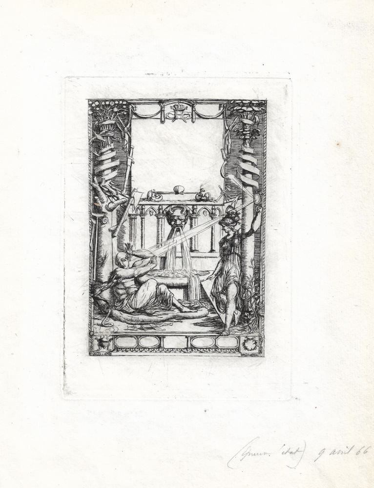 Grabado Meryon - Frontispice pour le catalogue de l'oeuvre de Thomas de Leu