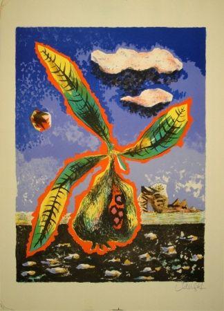 Litografía Lurcat - Frucht mit Blättern in phantastischer Landschaft