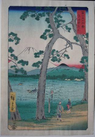 Grabado En Madera Hiroshige - Fuji on the left of the Tokaido