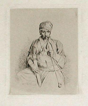 Grabado Gérôme - Fumeur égyptien au turban