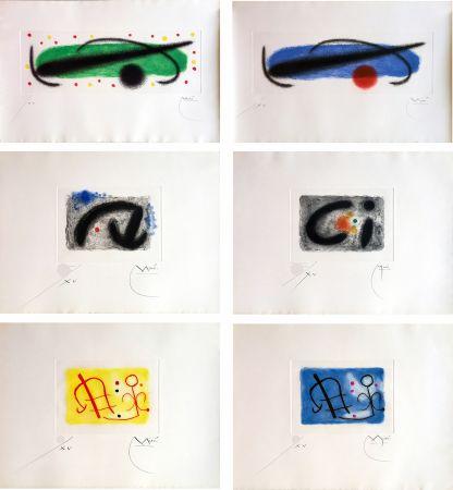 Aguafuerte Y Aguatinta Miró - FUSÉES. LA SUITE COMPLÈTE DES 15 AQUATINTES SIGNÉES (BRODER 1959).