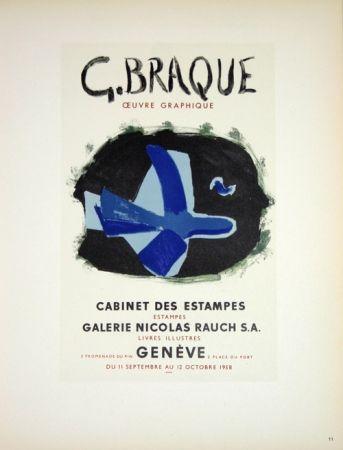 Litografía Braque - G. Braque  Oeuvres Graphiques Nicolas Rauch  Genéve  1958
