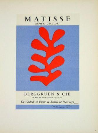 Litografía Matisse - Galerie Berggruen 1953