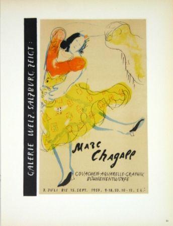 Litografía Chagall - Galerie Welz Salzburg - Gouachen-Aquarelle-Graphik Bûhnenentwûrfe