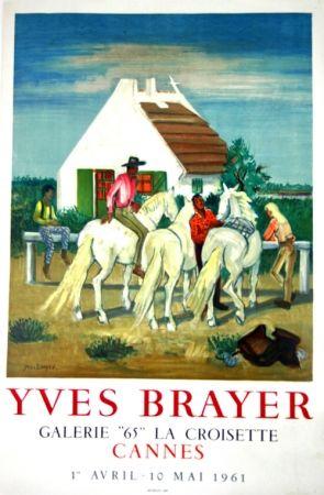 Litografía Brayer - Gardians en Provence Exposition Cannes 1961