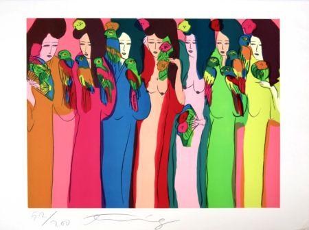 Serigrafía Ting - Geishas aux perroquets