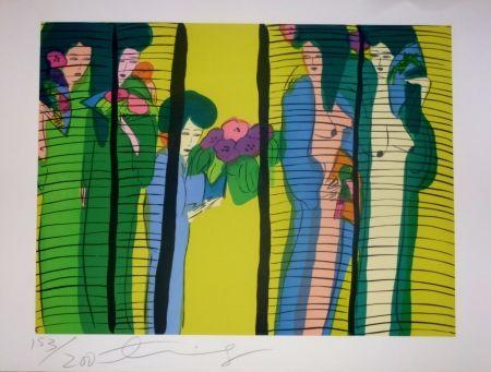 Litografía Ting - Geishas et fleurs