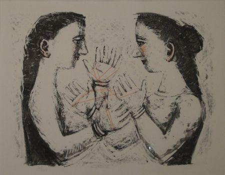 Litografía Campigli - Gioco Con il Filo