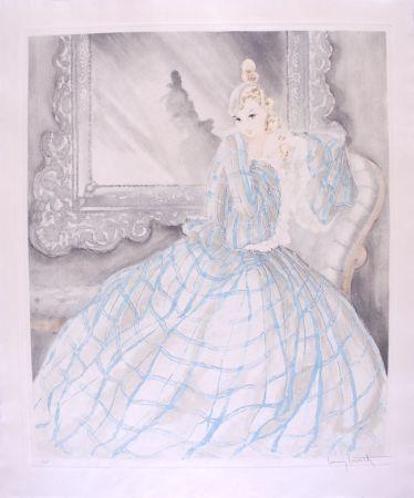 Aguafuerte Icart - Girl in Crinoline - Miroir de Venise