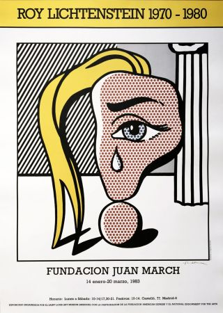 Sin Técnico Lichtenstein - Girl with Tear III Poster (Hand Signed)