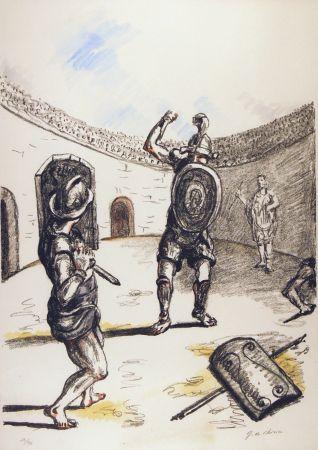 Litografía De Chirico - Gladiatori Nell'arena