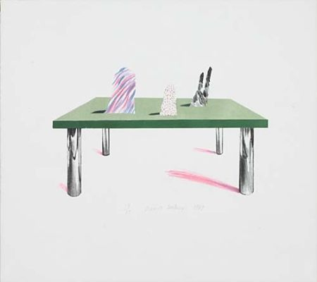 Litografía Hockney - Glass Table with Objects
