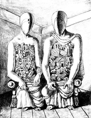 Litografía De Chirico - Gli Archeologi V
