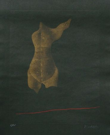 Aguafuerte Y Aguatinta Wunderlich - Goldener Torso mit I Flügel