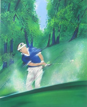 Litografía Spahn - Golfeur bleu
