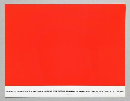 Serigrafía Isgro - Gorbaciov corre nel rosso (Storie rosse)