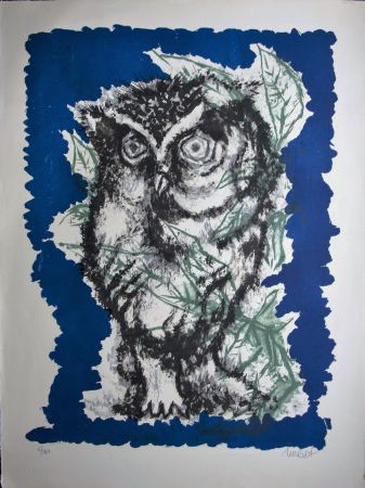 Litografía Lurcat - Grand hibou et feuillages