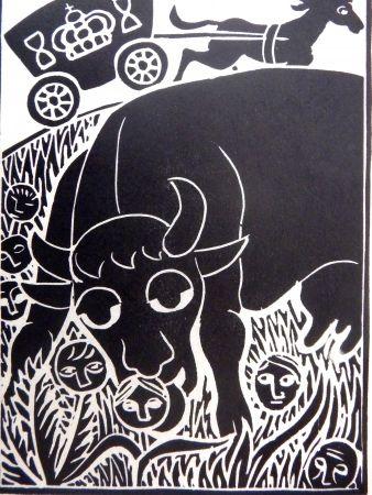 Linograbado Heerup - Grass II