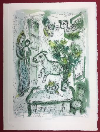 Aguafuerte Y Aguatinta Chagall - Gravure originale en couleur pour Life and Work (F. Meyer 1961)