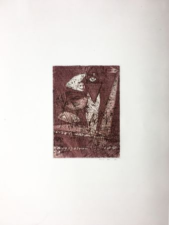 Aguafuerte Y Aguatinta Ernst - Gravure pour : MORT AUX VACHES ET AU CHAMP D'HONNEUR (1950). Tirage à part.