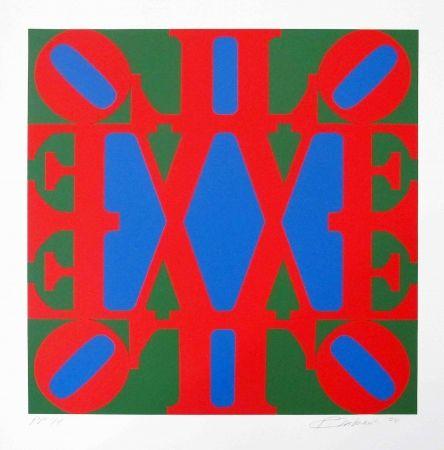 Serigrafía Indiana - Great Love, Red, Green, Blue 'v' Centre