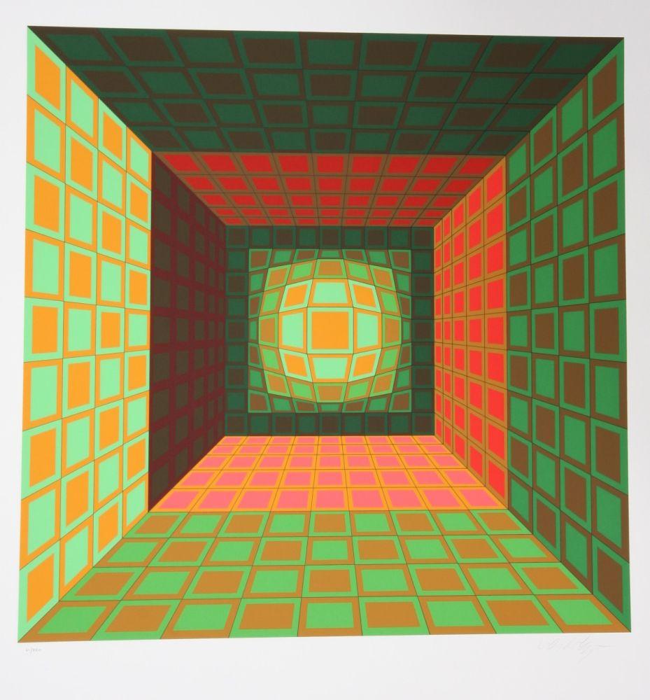 Serigrafía Vasarely - Green and Orange Composition