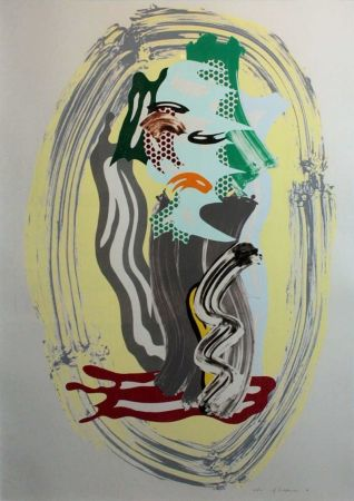 Litografía Lichtenstein - Green Face, from Brushstroke Figures