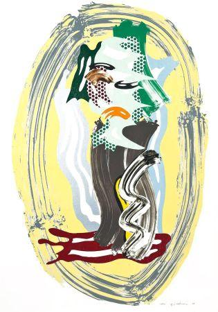 Litografía Lichtenstein - Green Face, from Brushstroke Figures Series