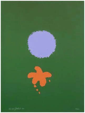 Serigrafía Gottlieb - Green Ground, Blue Disk (1966)