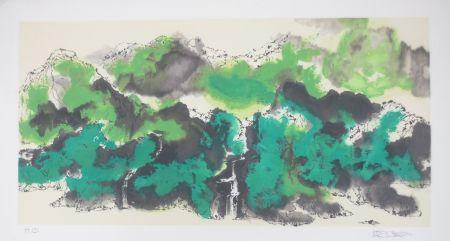 Litografía Po Chung - Green mountain
