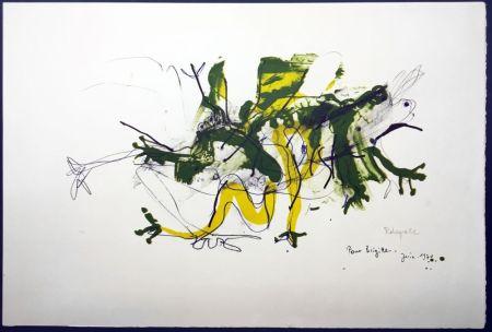 Litografía Rebeyrolle - GRENOUILLES. Lithographie signéeet dédicacée (1970).