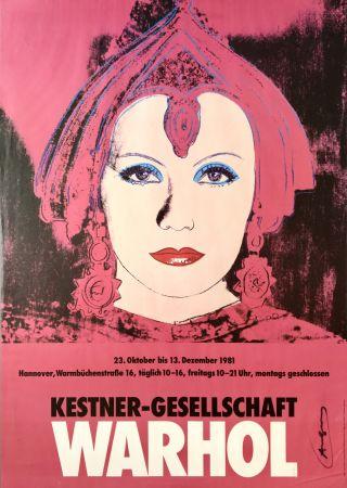 Litografía Warhol - 'Greta Garbo' Hand Signed Exhibition Poster 1981