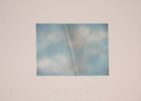 Litografía Goode - Grey Folded Clouds - II Blue and white