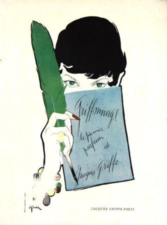 Litografía Gruau - Griffonage  Parfum De Jacques  Griffe
