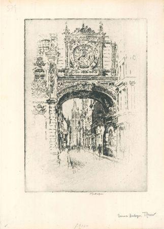 Grabado Pennell - Grosse horloge, Rouen