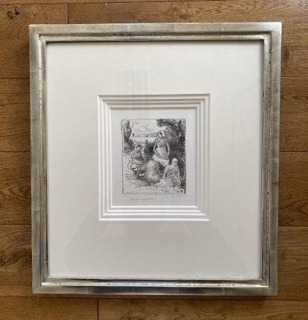Litografía Pissarro - Group de paysans