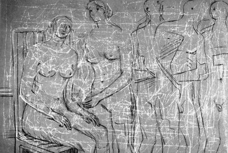 Litografía Moore - Group of figures