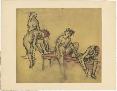 Aguafuerte Y Aguatinta Degas - Groupe de danseuses (étude du nus et mouvements. 1897)