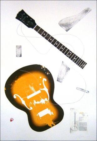 Aguafuerte Herrou - Guitare jaune sur fond blanc