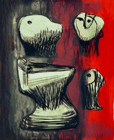 Litografía Moore - Heads ideas for sculpture