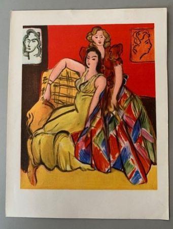 Litografía Matisse - Henri Matisse – Deux jeunes filles, robe jaune, robe ecossaise
