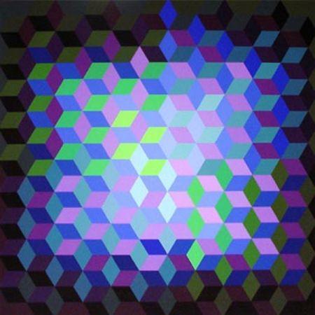 Serigrafía Vasarely - Hexagon 7