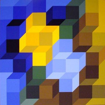 Serigrafía Vasarely - Hexagon 8