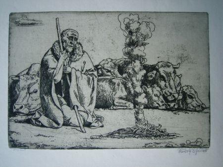 Grabado Scheller - Hirt am Feuer