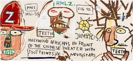 Serigrafía Basquiat - HOLLYWOOD AFRICANS IN FRONT OF THE CHINESE THEATER WITH FOOTPRINTS OF MOVIE STARS