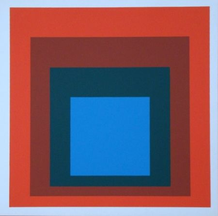 Serigrafía Albers - Homage to the Square - blue+darkgreen with 2 reds, 1955